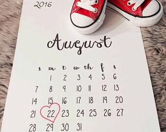 Printable Pregnancy Due Date Calendar - heart around date - digital download