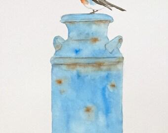 "ORIGINAL Watercolor Robin Painting & Old Milk Can 8""x10"", Robin Sketch, Watercolor Bird Art, Spring Art, Robin Art, Nursery Art"