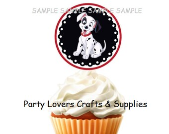 INSTANT DOWNLOAD Cupcake Toppers or Tags; Printable 101 Dalmatians PDF File Tags; Printable Puppy Party Tags; Print at Home Dog Party tag