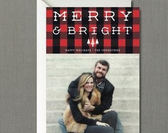Buffalo Plaid Merry & Bright Christmas Photo Card // DIY PRINTABLE 5x7 File // Christmas Card, Holiday Card, Personalized Christmas Card