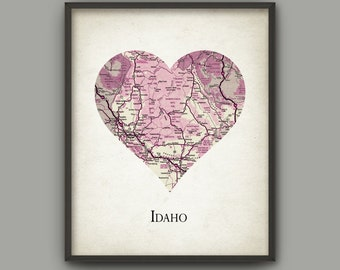 Idaho State Map Print - Love Heart Idaho State - Idaho State Travel Poster - Idaho State United States - Idaho State Gift Idea