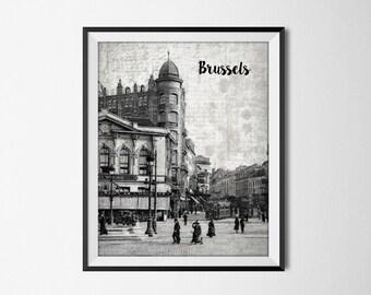 Porte de Namur Ixelles Brussels Print - Vintage View Of Brussels - Brussel Art Print - Belgium Travel Poster - Brussels Wall Decor