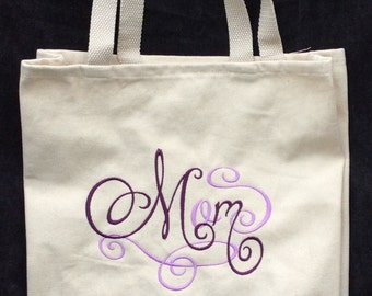 Mother's Day Embroidered Mom  Tote Bag