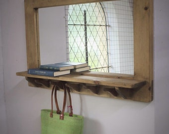 mirror with shelf & 5 hooks, wooden frame in natural eco friendly wood - any size made - handmade rustic industrial style from Somerset UK