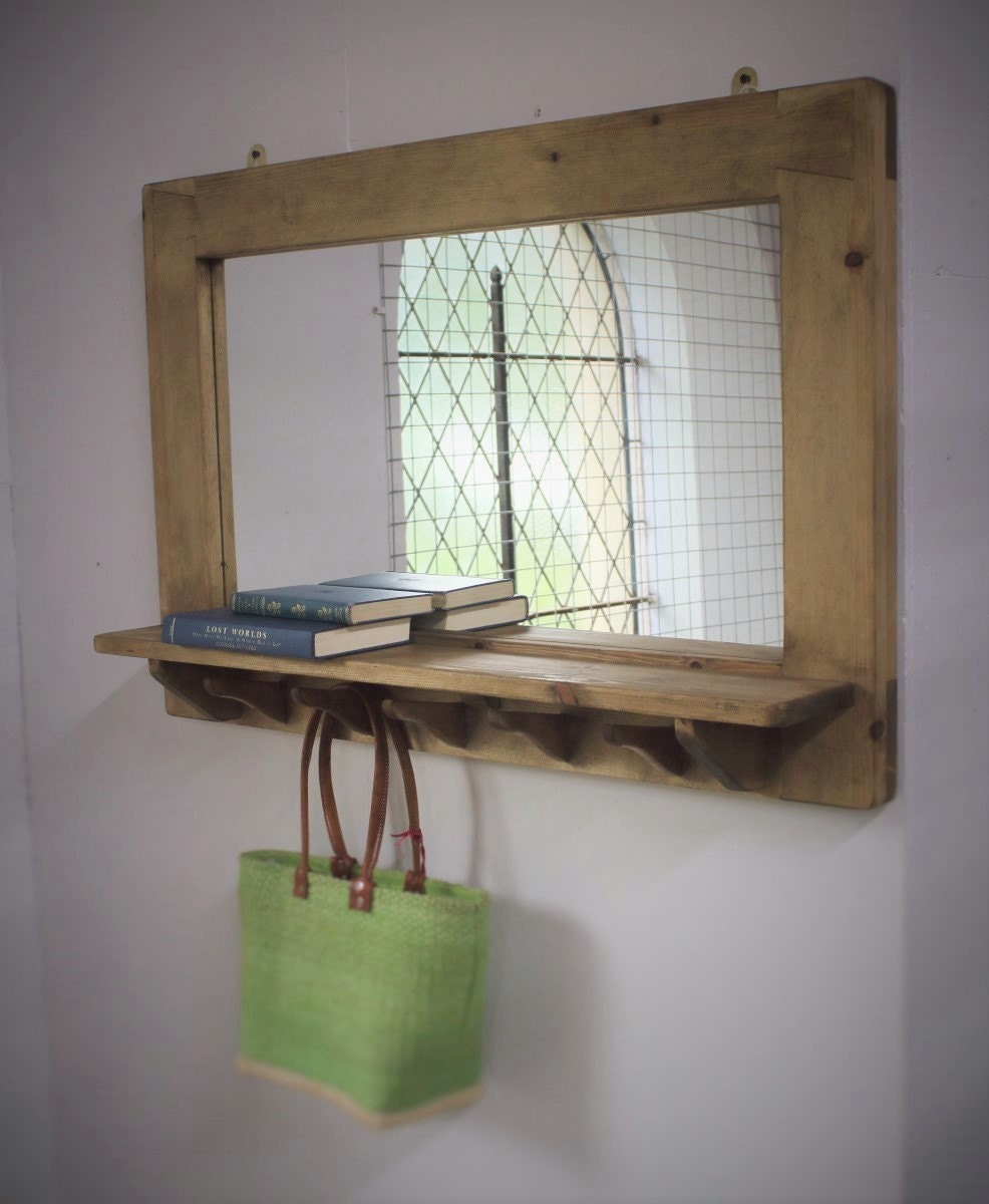 Mirror With Shelf Amp 5 Hooks Wooden Frame In Natural Eco