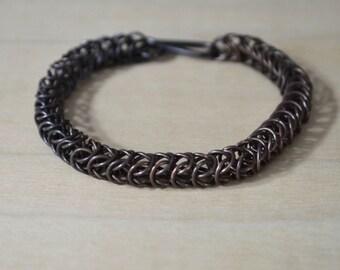 Thin Black Copper Chain Mail Bracelet, Box Chain Bracelet, Black Chain Mail, Handmade Chain,  Chain Mail Jewelry, Box Weave Bracelet
