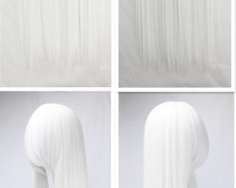 "39"" Long Straight Wig Write Lolita Cosplay Hairpiece For Women"