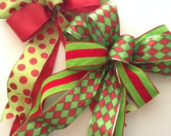Christmas Red and Green Decorative Bows /Set of 2 / Christmas Wreath Bow / Xmas Whimsical Custom Bows / Xmas Apple Green and Red Polka Dots