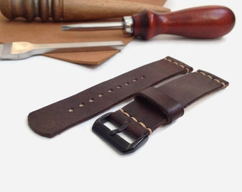 Dark brown leather watch strap PVD buckle black color Personalized initials watch strap 16 mm 18 mm 20 mm 22 mm watch band hand stitched