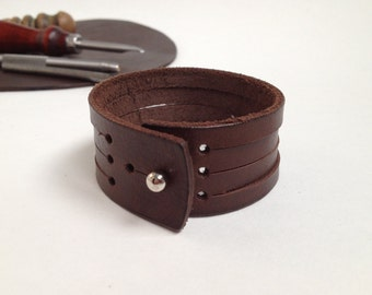 Multi strand leather bracelet Multi-strand leather cuff Genuine leather cuff for men Genuine leather cuff for women Leather strips bracelet