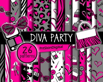 Diva Party Digital Paper, Diva Birthday Party, Glamour Party, Zebra Party, Leopard Party Decorations, Girl Birthday Party, Girl Party Favors