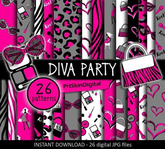 Diva Party Digital Paper Diva Birthday Party Glamour Party
