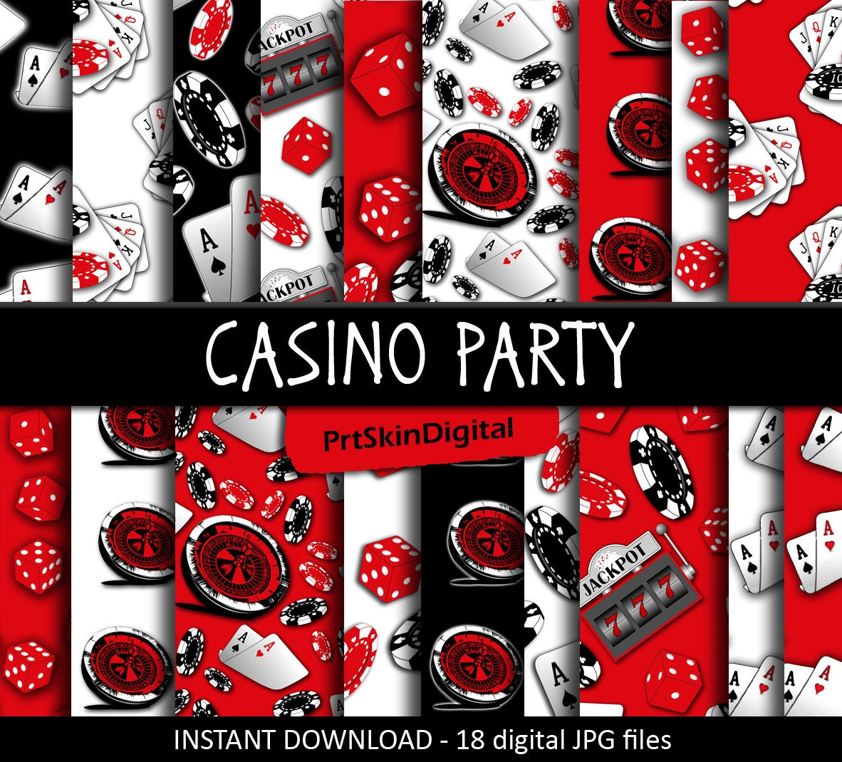 Casino Theme Party Digital Paper Casino Party Digital