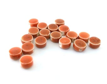 22 Small Round Ceramic Porcelain Beads - Raku Ceramic Beads - Round Beads - Small Beads -Ceramic Beads - Porcelain Beads - Red Beads