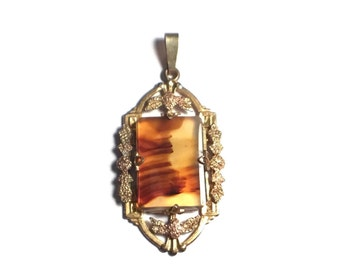 Brown Stone 1/20 12kt GP Charm, White Co, Pendant, Gold Jewelry,