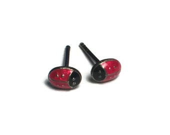 Sterling Silver Ladybug Earrings, Good Luck, Insect, Jewelry, Red, Lady Bug
