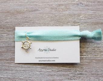 Aquamarine Silver Wheel Hair Tie