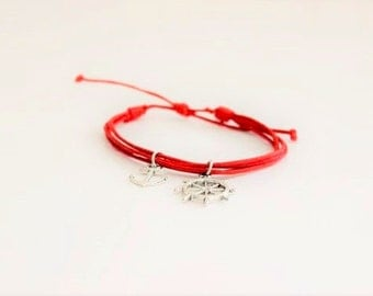 Red Cord Anchor Ship Wheel Bracelet