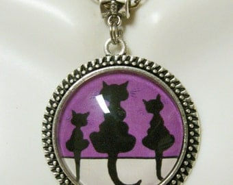 Three silhouette cat pendant with chain - CAP26-100