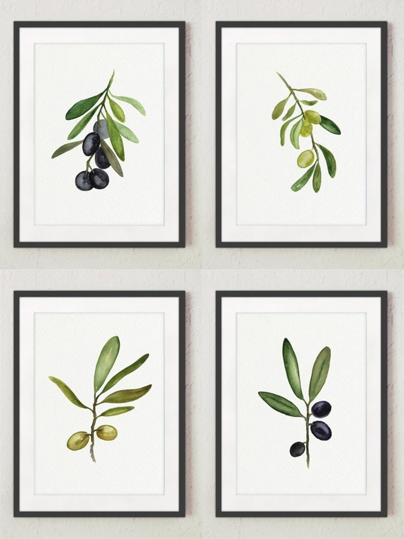 Black olive fine art print set 4 green olive watercolor for Art cuisine evolution 10 piece cooking set