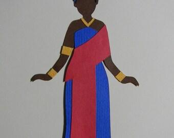 African Goddess Mawu Paper Cut