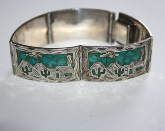 Beautiful Vintage Sterling Silver withTurquoise StonesLink Bracelet 7 in