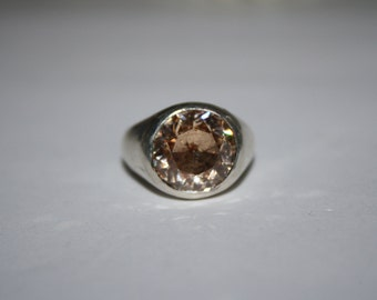 Size 8 Sterling Silver Orange Zircon Stone Sterling Silver ring