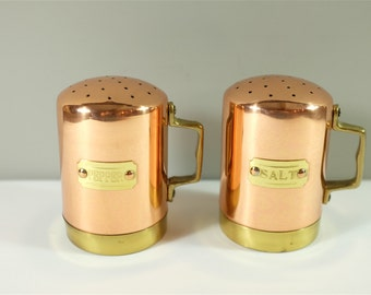 Vintage Salt and Pepper shakers copper and brass- Vintage copper and brass salt and pepper