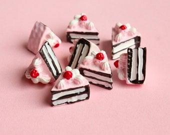 Pink Cake Slice Cabochons Flatback Embellishments Kawaii Decoden Resin