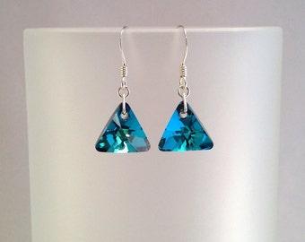 Blue Swarovski Earrings, Bermuda Blue Crystal Jewellery, Blue Triangle Earrings, Gift For Her Under 15, Birthday Present, Gift For Mum.