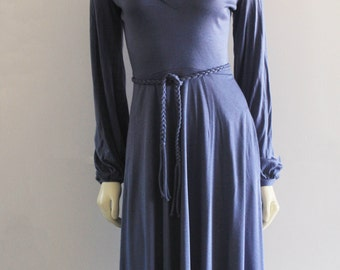 70's Vintage Stone Blue Cowl Neck Bishop Sleeve Fit and Flare Knee Length Dress