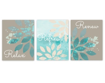 Bathroom Wall Decor, Taupe Teal Bathroom Decor, Turquoise Bathroom Art, Bathroom  Wall Art, Home Decor, 5x7 8x10 11x14 UNFRAMED,