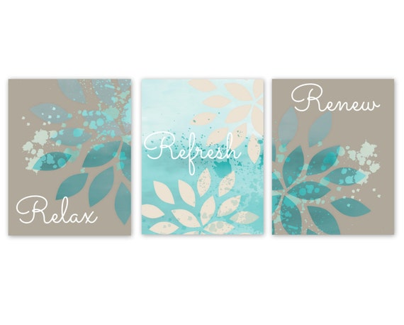 Bathroom wall decor teal bathroom decor turquoise bathroom for Bathroom decor etsy