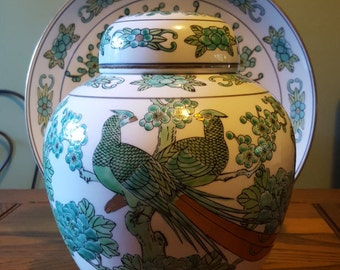 Yamayo, pheasants and foliage, ginger jar and matching plate set.