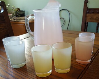Pastel glass pitcher and glass set.