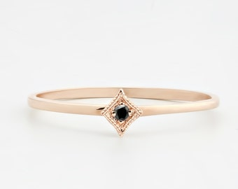 Tiny black diamond ring, 14k rose gold, black diamond stacking ring, thin band, white gold, yellow gold white gold option, sta-r101-bdia