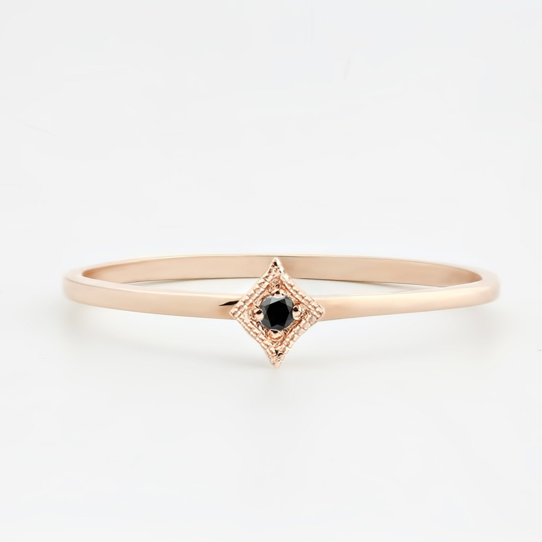 Tiny black diamond ring 14k rose gold black diamond stacking