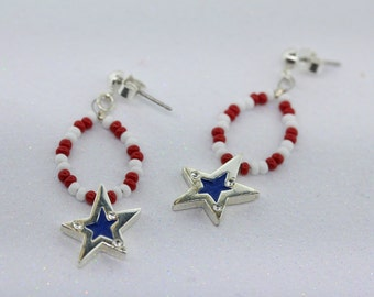 1 Pair- Red, White and Blue Seed Bead Star Earrings