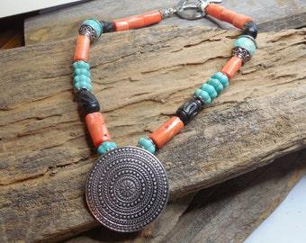 Boho , southwest Orange coral turquoise beaded necklace with ornate pendant