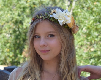 Ivory, Custard & Beige Flower Crown- Flower Girl Crown- Fall Flower Crown- Autumn Bridal Crown- Photo prop- Ivory, Butter and  Orange Halo