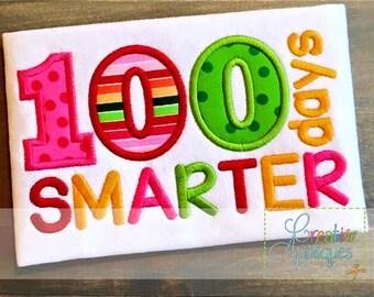 100 Days Smarter Digital Machine Embroidery Applique Design 4 Sizes Corner of the Sky