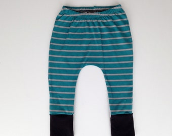 Turquoise harem pants // baby harem pants // toddler harem pants // striped pants // baby boy // baby girl // toddler pants