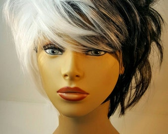Short Black and White Wig, Cruella Deville, Black and While Two Tone Wig