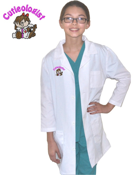 Kids Lab Coat with Cutieologist Embroidery Design
