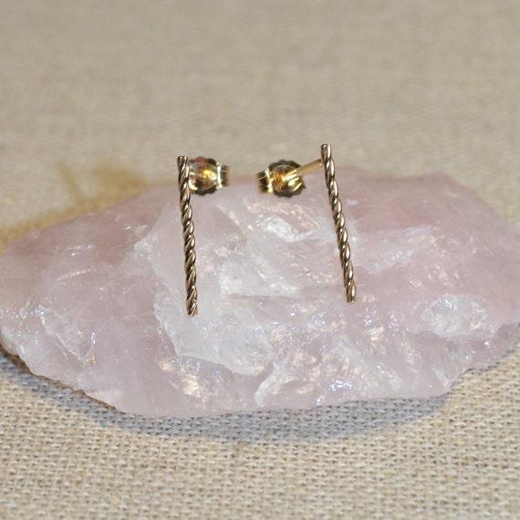 14k Gold Filled Bar Stud Earrings - Tiny Stud Earring - Gold Earring Studs - 20 Gauge Cartilage Piercing - Helix Piercing