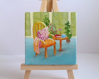 Easy Chair Tiny Original Acrylic Painting on Canvas, Miniature Painting