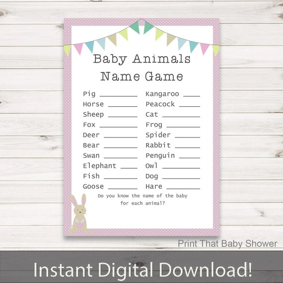Baby Shower Games Baby Animals Name Game Pink Bunny Baby