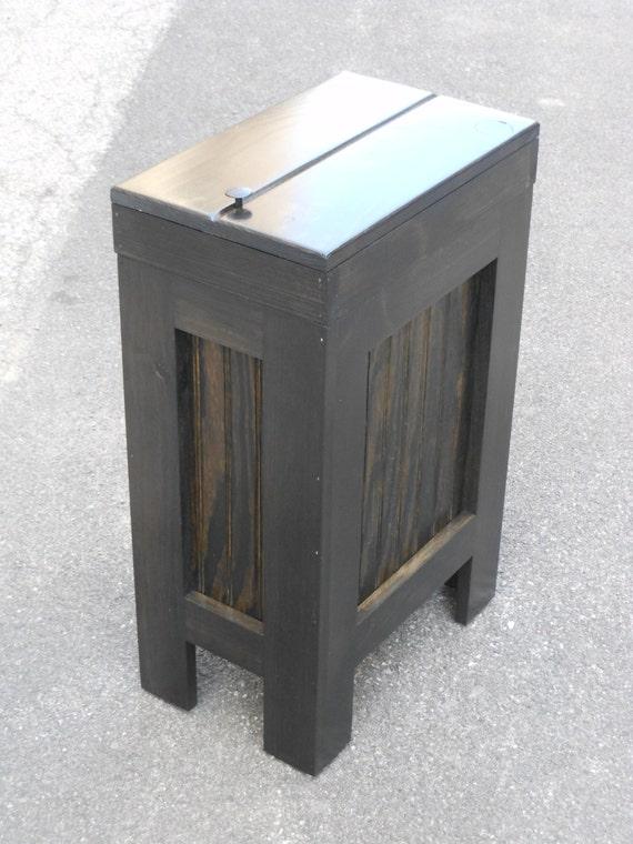 wood wooden kitchen garbage can trash bin by