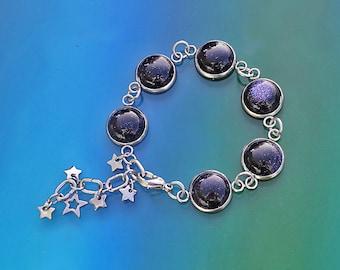 Stainless Steel Blue Goldstone Bracelet, Stainless Steel Star Bracelet, Very Dark Blue Bracelet, Blue Galaxy Bracelet, Mothers Day Gift