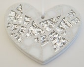 Mosaic Ornament, Heart, White + Textured Silver Mirror, Handmade Stained Glass Mosaic Design